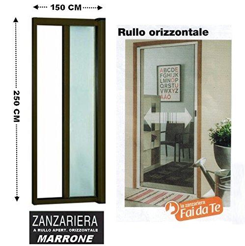 Zanzariera a rullo in alluminio per porte/balconi con profilo riducibile/regolabile avvolgimento orizzontale 150x250cm marrone (cod.:4827)