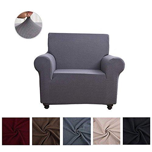 Chlove Honigwabe Sofabezug Elastische Sofa Abdeckung Sofaüberwurf Sesselhusse Stretchhusse in Verschiedenen Größen und Farben 1 Sitzer Abstand 80-120 cm Grau
