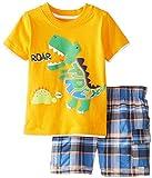 Tyoby Baby Junge koreanische Version des Cartoon-Dinosaurier-Krokodil-Top + Karierte Shorts zweiteilig Mode Babykleidung(Gelb,120)