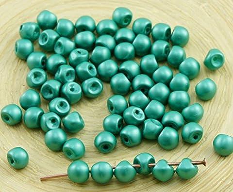 60pcs Nacré Vert Émeraude de la barbe à papa le plus Petit Champignon Bouton tchèque Perles de Verre de 4 mm x 3