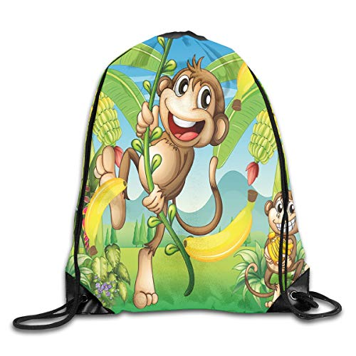 GONIESA Fashion New Drawstring Backpacks Bags Daypacks,Two Monkeys Near The Banana Plant Tropical Nature Landscape Vine Funny Animals Apes,5 Liter Capacity Adjustable for Sport Gym Traveling - Vine Best Funny New