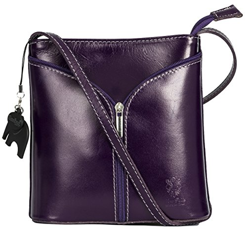 Big Handbag Shop Borsetta piccola a tracolla, vera pelle italiana Deep Purple - Plain