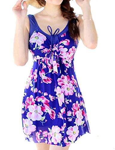 Wantdo Women's One Piece Swimsuit Plus Size Flower Printed Swimdress Deep V Neck Swimdwear