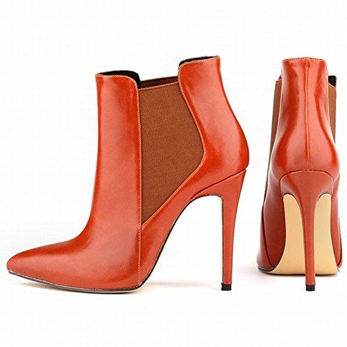 HooH Femmes Pointu Élastique Glissement Stiletto Escarpins Bottines Rouge