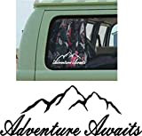 Online Design BERGE Auto Autoaufkleber Abziehbild vinyl camper reise wohnmobil adventure await