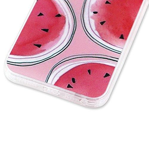 Custodia per iPhone 6/6S Cover in Silicone Transparente,Girlyard Colorate Frutta Limone Giallo Modello Slim Morbida Crystal Clear Leggero Gel TPU Copertura Protettivo per Apple iPhone 6/6S + [Pellicol Anguria Rotonda Rosa