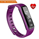 WitMoving Fitness Tracker, New Sport Water Resistant Smart Bracelet Wristband Watch with Heart Rate Monitor Pedometer Touchscreen for iPhone Samsung IOS Android Smartphones (Purple)