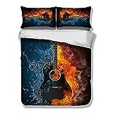 Bettwäsche Set 3D Gitarre Musik Rock Cool Fashion Gelb Schwarz Blau Bettbezug mit Kissenbezug Single Double King Size (150x200cm)