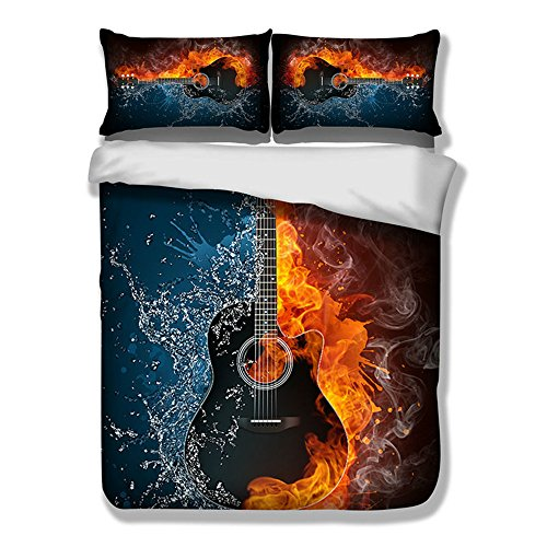 Bettwäsche Set 3D Gitarre Musik Rock Cool Fashion Gelb Schwarz Blau Bettbezug mit Kissenbezug Single Double King Size (150x200cm) - King-set Gelb Bettbezug