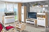 SMARTBett Wohnwand Wohnzimmerset SEKO-01 7-Teilig Weiß/Eiche