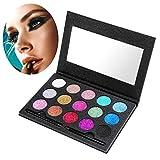 Lidschatten Palette, ETEREAUTY 15 Farbe Lidschatten Glitzer Eyeshadow Palette Shimmers Augenpalette Makeup Palette mit Lidschattenpinsel