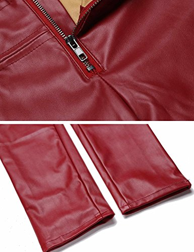 Zeela pantaloni sottili casuali dell'unità di elaborazione delle donne costeggiano le ghette strette sexy del motociclista vino rosso