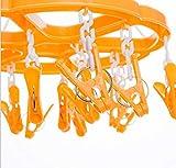 Cupcinu Trocknen Clips Faltbar Clip Kleidung Trocknen Kleiderbügel mit Clips Kunststoff Clips mit 24Clips für Socken Handtuch Schal Baby Kleidung Unterwäsche Hat Hosen Handschuhe (orange)