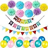 Geburtstag Party Dekoration Banner Girlande mit 10 Pom Poms Papierblume, 30 Luftballons und 1 Regenbogenfarben Flaggen, Junge und Mädchen Geburtstag Party Dekoration (Mehrfarbig)