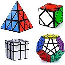 HJXDtech- Shengshou clásico cubo mágico irregular 4 Pack conjunto con Pyraminx Megaminx Skewb y espejo cubo Professional Speed Cube