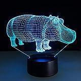 Mzdpp Bunte Steigungs-Nachtlichter 3D Rhino-Modellierung Führte Hauptbeleuchtung Atmosphäre-Tischlampe, Die Dekor-Nachttisch Beleuchtet