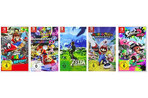 Super Mario Odyssey + Mario Kart 8 Deluxe + The Legend of Zelda: Breath of the Wild + Mario & Rabbids Kingdom Battle + Splatoon 2 [Nintendo Switch]
