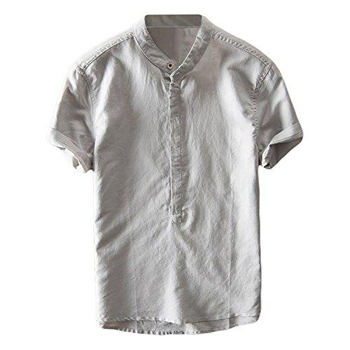 Herren Leinenhemd Sommer Kurzarm Regular Fit Freizeithemd V-Ausschnitt T-Shirt