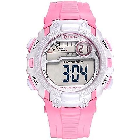 Relojes para ni?os/Chicas deporte digital resistente al agua reloj digital/ versátil con reloj digital alarma-B