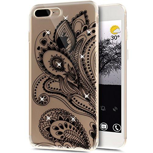 Coque iPhone 7 Plus, Étui iPhone 7 Plus, iPhone 7 Plus Case, ikasus® Coque iPhone 7 Plus Fleur peinte avec Luxe Shiny Glitter Strass Cristal Brillant Bling Diamant Housse Transparent TPU Silicone Étui Fleur de paon
