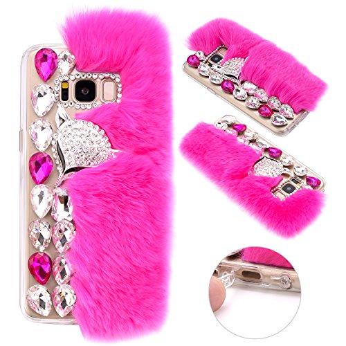 Galaxy S8 Plus Funda de piel de conejo, ZXK CO Lujo Bling Diamante Invierno Suave Cálida Pelaje Artificial Carcasa Cover para Samsung Galaxy S8 Plus Cristal de Diamante Zorro Carcasa de Protección para mujer y regalo de Navidad-Rosa roja