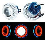 #8: AllExtreme Projector Lamp High Intensity Led headlight Lens projector ( High beam, Low Beam, Flasher function) Stylish Dual Ring COB LED Inside Double Angel's Eye Ring Lens Projector For - All Bikes (Blue And Red)