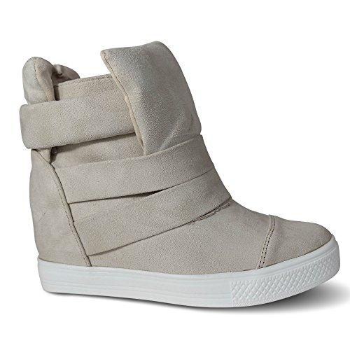 57bff6c74dc89d Damen Sneakers Keilabsatz Wedge High Heels High Top Turnschuhe Stiefeletten  Boots ST75 Beige