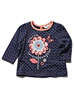 M&Co Baby Girl Long Sleeve Polka Dot Flower Applique Perfect Little Granddaughter Slogan Top Navy 12/18 Mnth