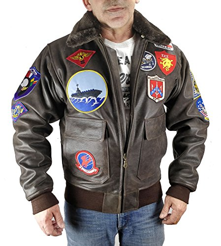 Top Gun Mavericks, Blouson d'aviateur en Cuir de Taureau(3XL)