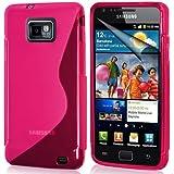 TPU (Thermoplastisches Polyurethan) Gel-Hülle für Samsung Galaxy S2 SI9100 in Rosa Silikonhülle mit Wellenmuster Höchste Qualität | Schutzhülle | Tasche | Case PLUS Displayschutzfolie und Reinigungstuch