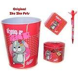 Original Zhu Zhu Pets/Hucha con candado, papelera, bolígrafo (con decoración flor & bloque de texto para niños/Alegría de regalar:))