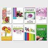 50 Dankeskarten Danke Klappkarten mit 50 Umschlägen Grußkarten Glückwunschkarten Karten