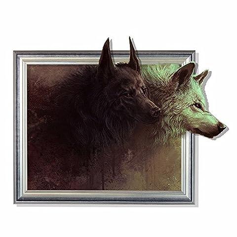 Weihnachts-Dekoration für Halloween 3D-Sticker (Wolf) poqiang/Wallpapers/Schlafzimmer/Wohnzimmer/TV/Sofa/Hintergrund/HD/selbstklebende Sticker / (59 * 75 (Hd Weihnachten Wallpaper)