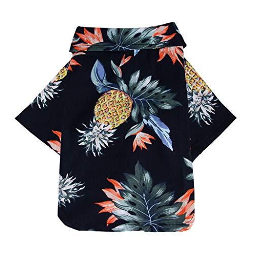 HoSayLike Haustier Hund Sommer Kleidungs Soft Cotton Und Linen Hawaii Obst Drucken Polo Hemd Rock Druckennettes Haustier Welpen T-Shirt Weste Kleidungs Hemd Hundebekleidung -