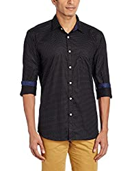 PARX Mens Casual Shirt (8907253848019_XMSS05538-W2_44_Black and White)