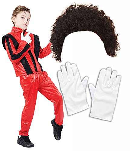 (Boys Michael Jackson 80S Fancy Dress Costume With Wig & Gloves Age 7-9)