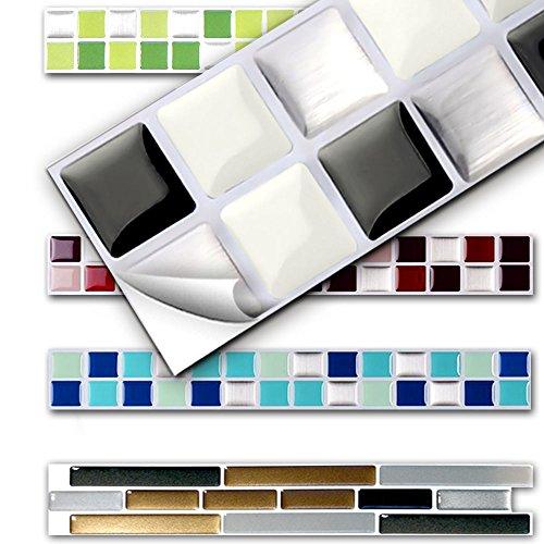 Schwarz-weiß-mosaik-fliesen (7 Stück 25,3 x 3,7 cm Wandora 3D Fliesenaufkleber W1431 viele Farben und Größen zur Auswahl Küche Bad Fliesenfolie selbstklebend schwarz weiß silber Mosaik Design 3)