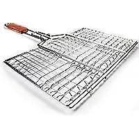 AmgateEu Grilling Basket Barbecue Turner BBQ Roast Folder Tool with Wooden Handle by AmgateEu