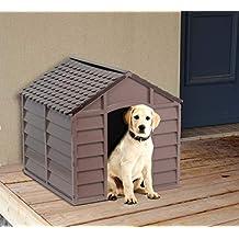 Caseta para perros de PVC, 71 x 71 x 68 cm, color beige /
