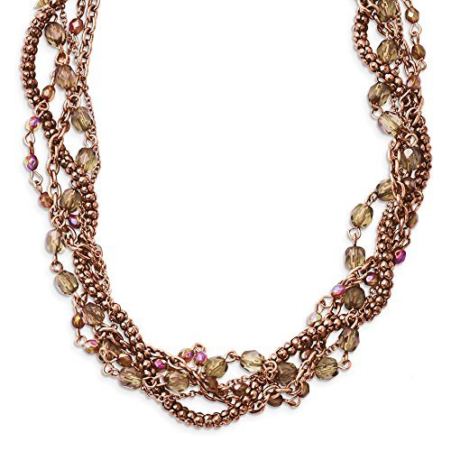 copper-tone-multicolor-acrylic-beads-16in-w-ext-twisted-necklace-by-1928-jewelry