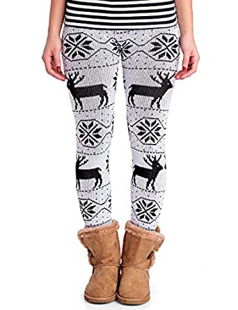 24brands - Damen Winterleggings Strickleggings / Leggings / Norwerger-Look / Rentier Muster - 1864, Größe:34 /36/ 38;Farbe:Weiss