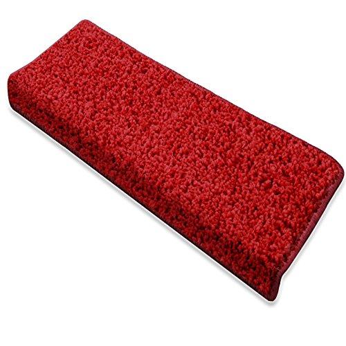 Casa pura copri gradini barcelona | antiscivolo | autoadesivo | pelo lungo | set da 15 pezzi | fatti in germania | certificati gut | rettangolare | rosso 23,5x65cm