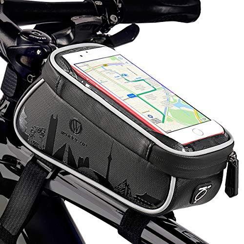 great-fyl Fahrradhandytaschen Wasserdichter Fahrradrahmen Vordertasche Fahrradhandyhalter Aufbewahrungstasche Schwarz