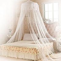 Moustiquaire ciel de lit, Mopalwin Grande Moustiquaire Baldaquin Pour Lit Double, Décoration de lit et de chambre à coucher Filet anti-moustique (Blanc)