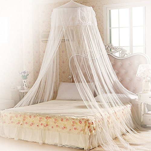 Zanzariera, mopalwin zanzariera rotonda per letto singoli o matrimoniali, mosquito net di protezione contro le mosche degli insetti - bianco