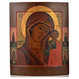 Alte russische Ikone Gottesmutter von Kazan 19. Jh.