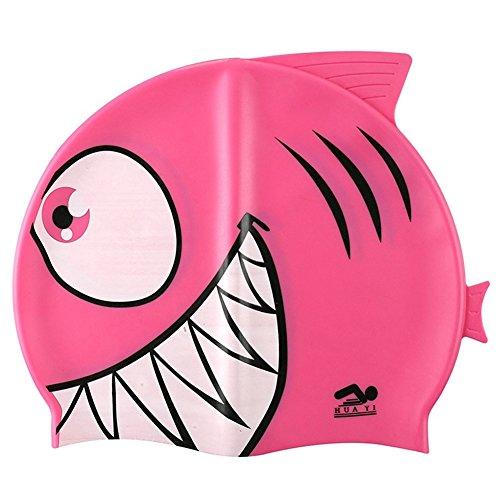 Kinder-Badekappe aus Silikon, Lustiges Design, Fischform, für Kinder, Jungen/Mädchen , rose