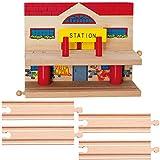 Holz - Bahnhof / Haltestelle - mehrstöckig - 2 Etagen + 4 gerade Schienen - für Holzeisenbahn - passend für alle Schienen-Systeme & Straßen - z.B. Brio / Her..