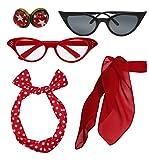 Retro-1950er Jahre Polka Dot Style Schal Brille Stirnband und Ohrringe Kostüm Zubehör Set