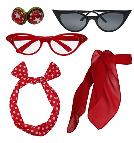 b6095f67fa Retro 1950s Polka Dot Style Scarf Glasses Headband and Earrings Costume  Accessories Set (One Size